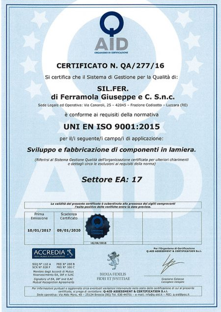 2018-08-18 - Certificato QA 277 16